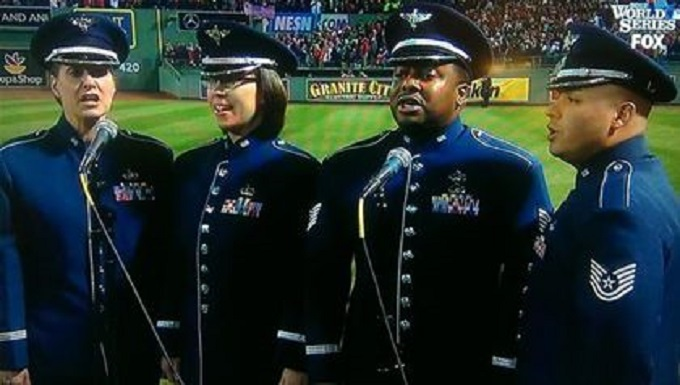 Master Sergeant Jennifer Dashnaw, Technical Sergeant Niko Ellison, Technical Sergeant Richard Vasquez and SSgt Rachel Webber of the USAF Heritage of America Band sing