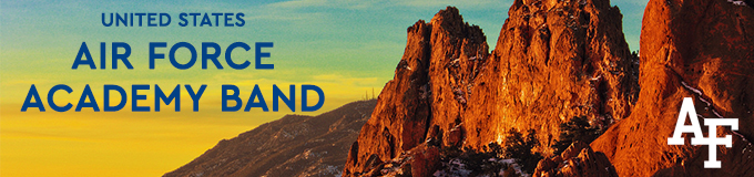 A banner graphic for the United States Air Force Academy Band featuring the band name in blue lettering along with the Air Force Academy logo in white above a yellow sunset and orange rock formations at Garden of the Gods in Colorado Springs, Colorado.