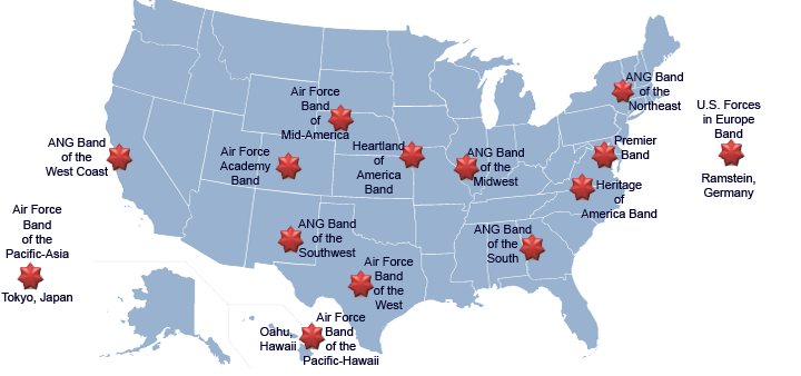 national map graphic with links to U.S. Air Force band websites